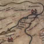 Deel van de beroemde Peutinger kaart.  Duidelijk is de strategische ligging van Samosata te herkennen. Tijdens de oorlog met Rome speelde zij een crusiale rol in het tegenhouden van de Romeinse legioenen.